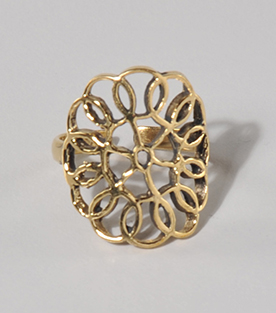 FINGERRING geometrische Blume Messing dm 2,5cm verstellbar