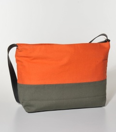 SCHULTERTASCHE BW-Canvas  orange-oliv, 36x10xH30cm