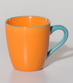 TASSE orange m. Henkel türkis dm9xH9,5cm