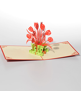 POP UP Karte Tulpen rot 15x10cm