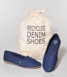 SLIPPER 37 recyceltem BW-Denim Innenfutter Denim, Gummisohle