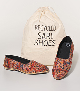 SLIPPER aus Recyclingsaris 37 Innenfutter Denim, Gummisohle